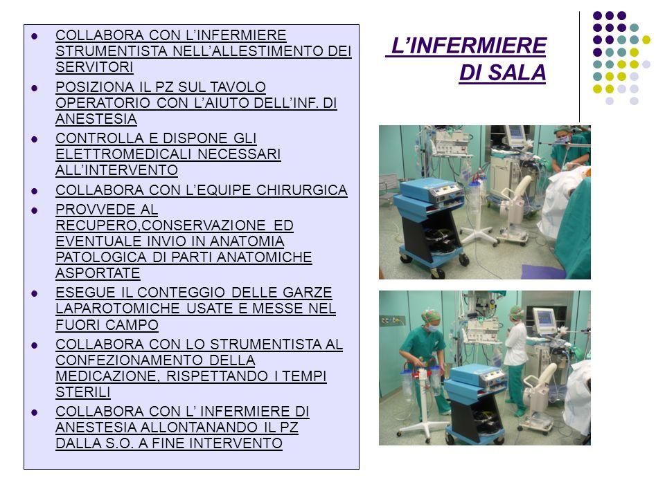 L'INFERMIERE DI SALA COLLABORA CON L'INFERMIERE STRUMENTISTA NELL'ALLESTIMENTO DEI SERVITORI.