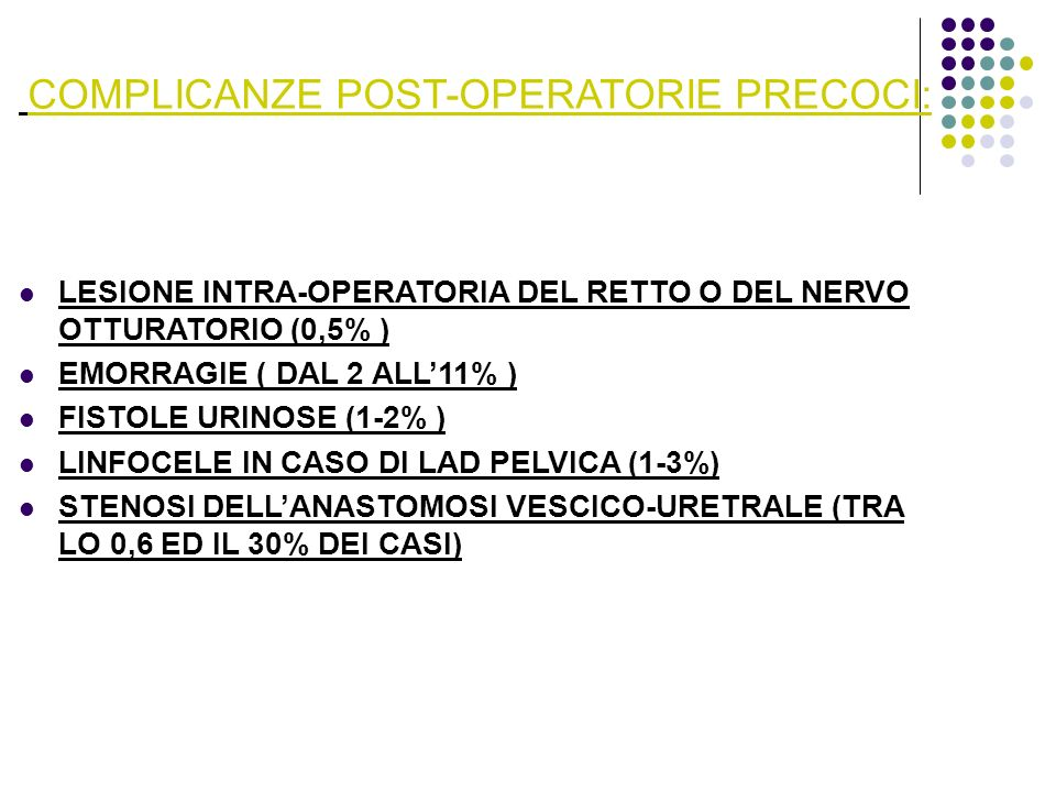COMPLICANZE POST-OPERATORIE PRECOCI: