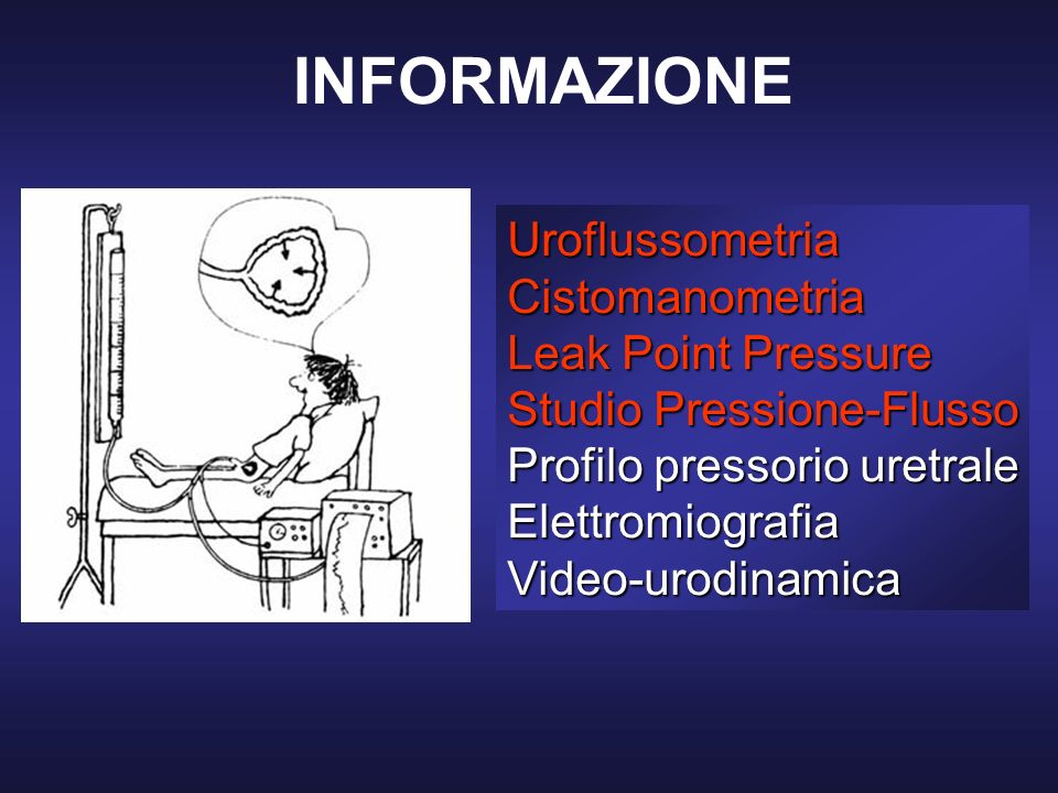 INFORMAZIONE Uroflussometria Cistomanometria Leak Point Pressure