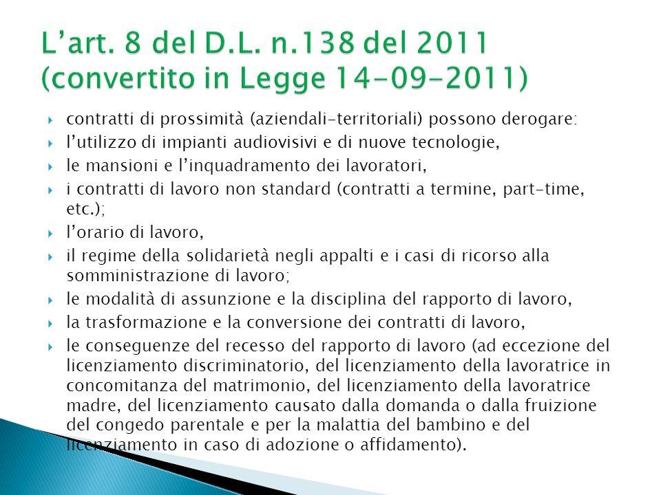 L'art. 8 del D.L. n.138 del 2011 (convertito in Legge 14-09-2011)