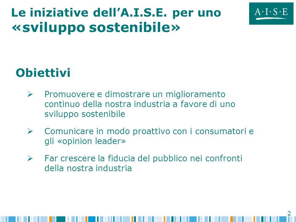 Le iniziative dell'A.I.S.E. per uno «sviluppo sostenibile»
