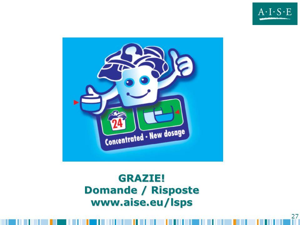 GRAZIE! Domande / Risposte www.aise.eu/lsps