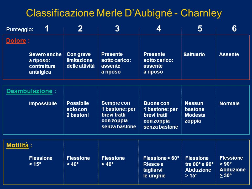 Classificazione Merle D'Aubigné - Charnley