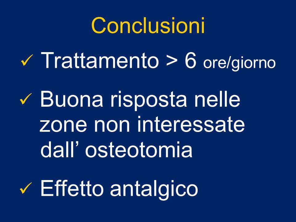 Conclusioni Trattamento > 6 ore/giorno. Buona risposta nelle. zone non interessate. dall' osteotomia.