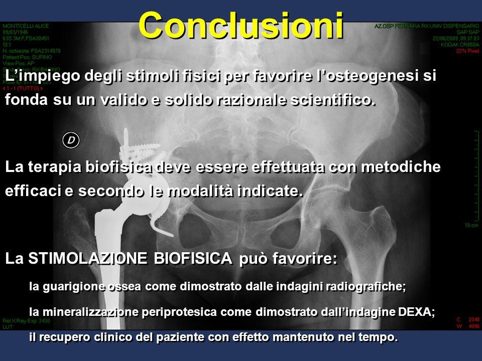 Conclusioni L'impiego degli stimoli fisici per favorire l'osteogenesi si fonda su un valido e solido razionale scientifico.