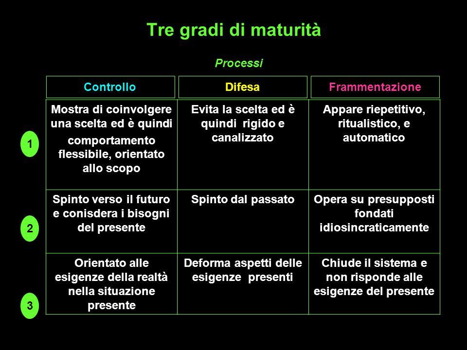 Tre gradi di maturità Processi Controllo Difesa Frammentazione