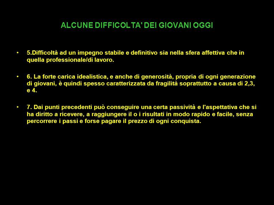 ALCUNE DIFFICOLTA DEI GIOVANI OGGI