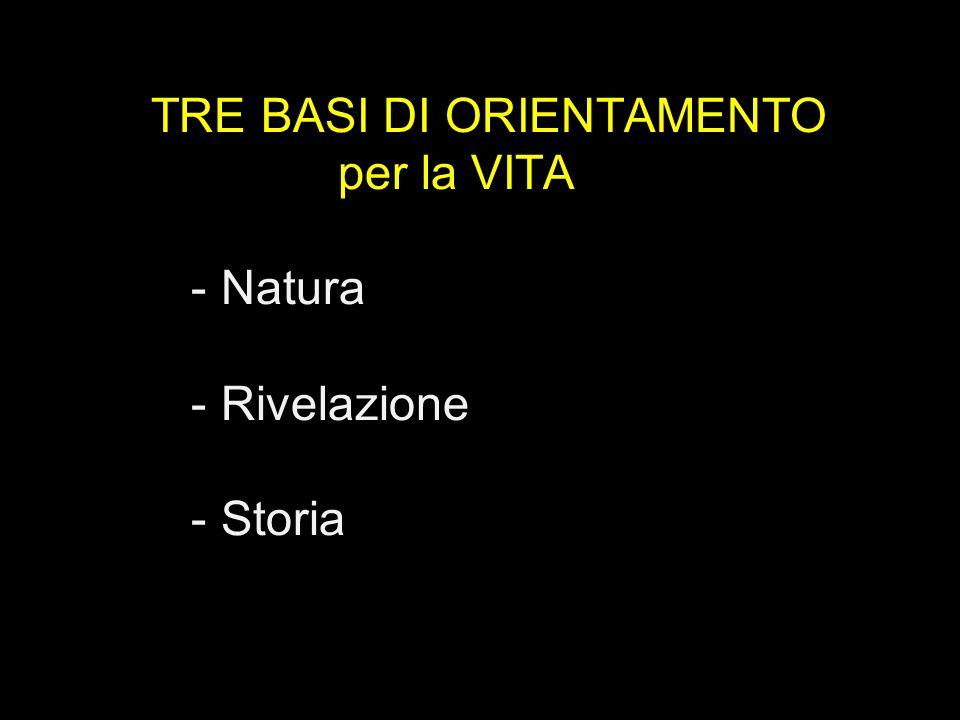 TRE BASI DI ORIENTAMENTO per la VITA - Natura - Rivelazione - Storia