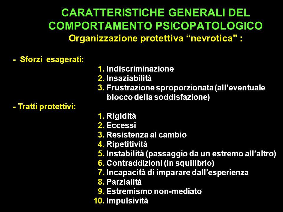 CARATTERISTICHE GENERALI DEL COMPORTAMENTO PSICOPATOLOGICO Organizzazione protettiva nevrotica :