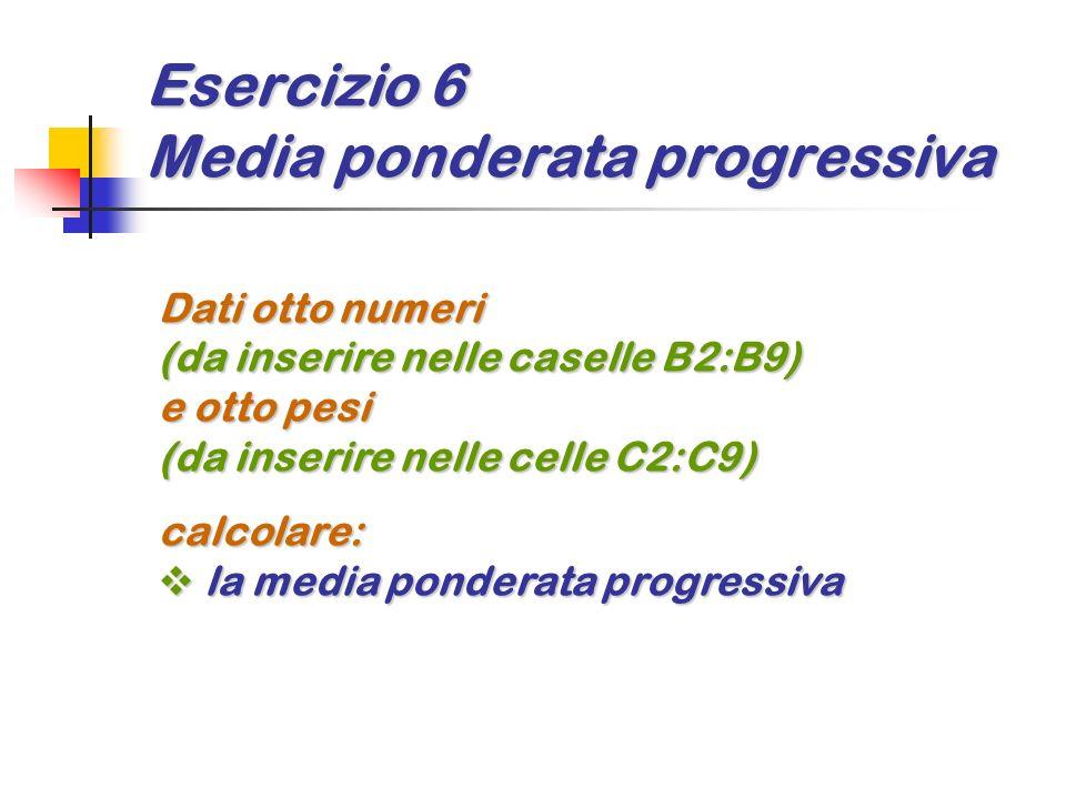 Esercizio 6 Media ponderata progressiva