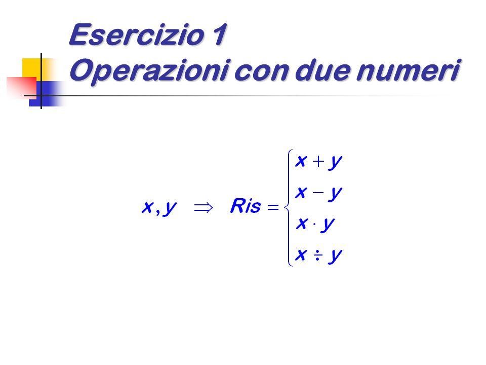 Esercizio 1 Operazioni con due numeri
