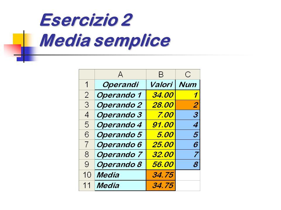 Esercizio 2 Media semplice