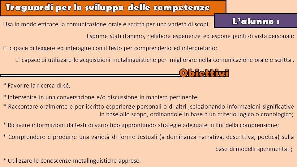 Obiettivi Traguardi per lo sviluppo delle competenze L'alunno :