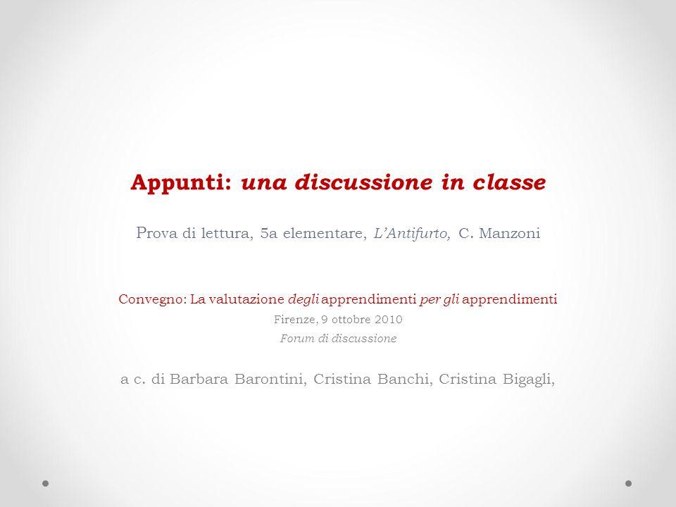 Appunti: una discussione in classe Prova di lettura, 5a elementare, L'Antifurto, C. Manzoni