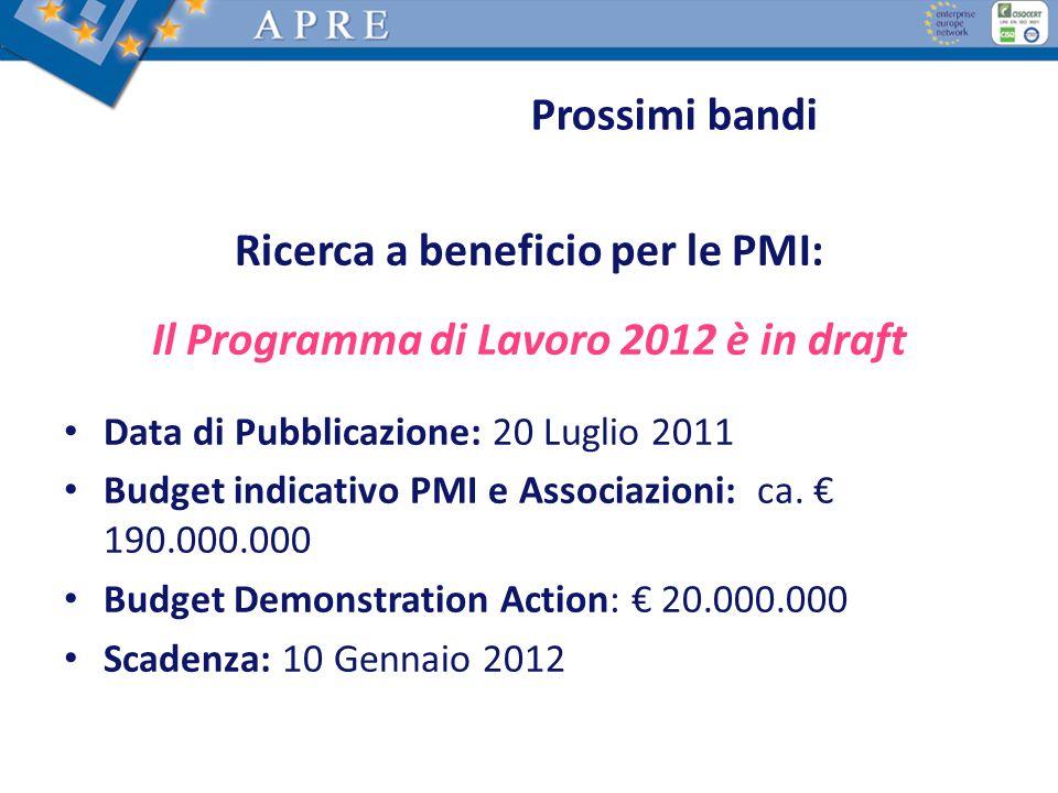 Ricerca a beneficio per le PMI: Il Programma di Lavoro 2012 è in draft