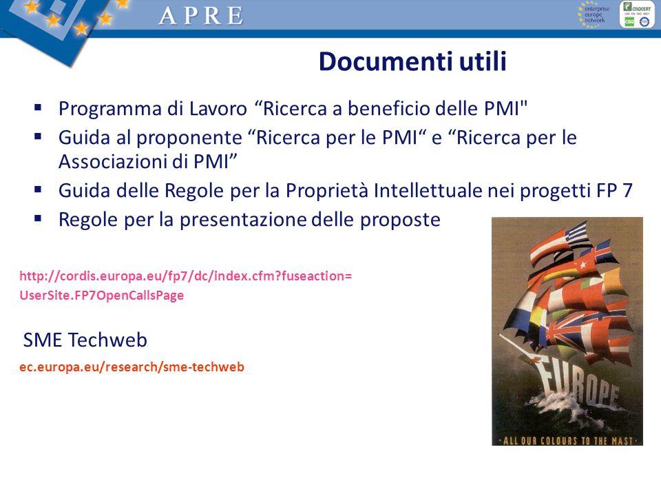 Documenti utili Programma di Lavoro Ricerca a beneficio delle PMI
