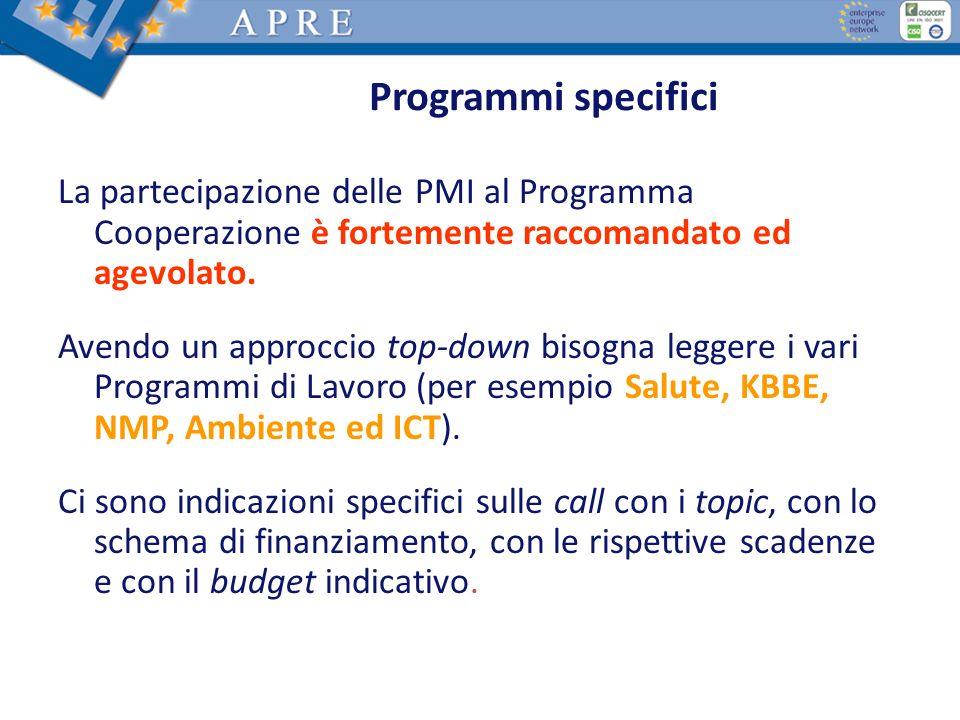 Programmi specifici La partecipazione delle PMI al Programma Cooperazione è fortemente raccomandato ed agevolato.