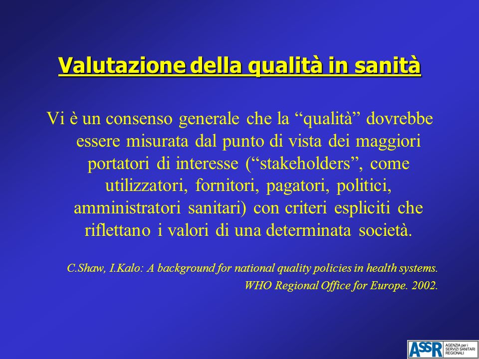 Valutazione della qualità in sanità