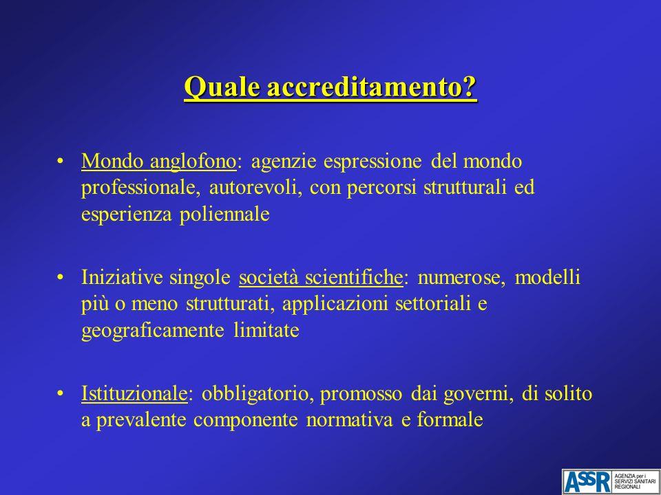 Quale accreditamento Mondo anglofono: agenzie espressione del mondo professionale, autorevoli, con percorsi strutturali ed esperienza poliennale.