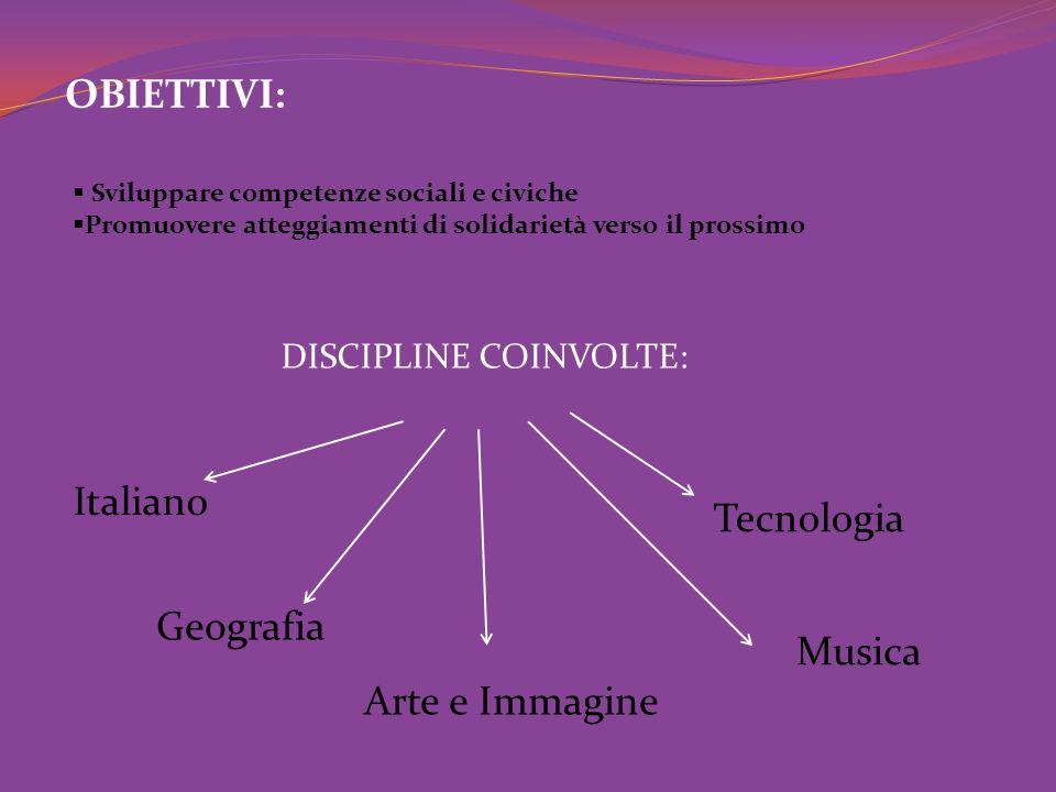 OBIETTIVI: Italiano Tecnologia Geografia Musica Arte e Immagine