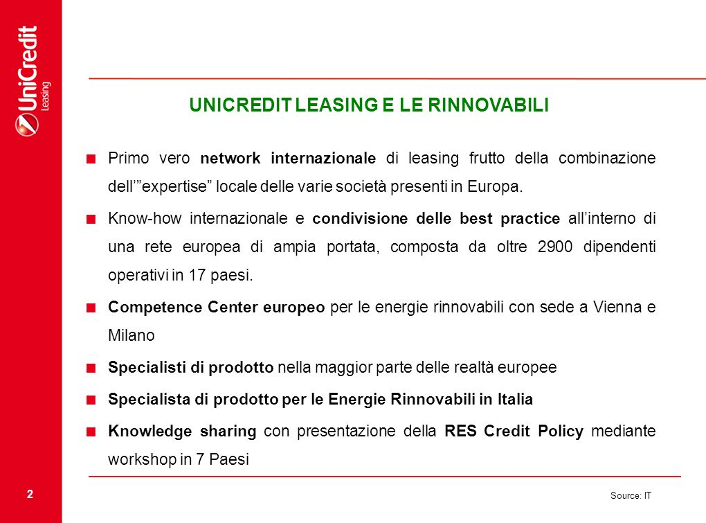 UNICREDIT LEASING E LE RINNOVABILI