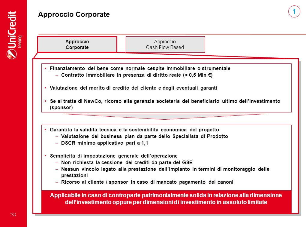 1,5 1. Approccio Corporate. Approccio. Corporate. Approccio. Cash Flow Based.