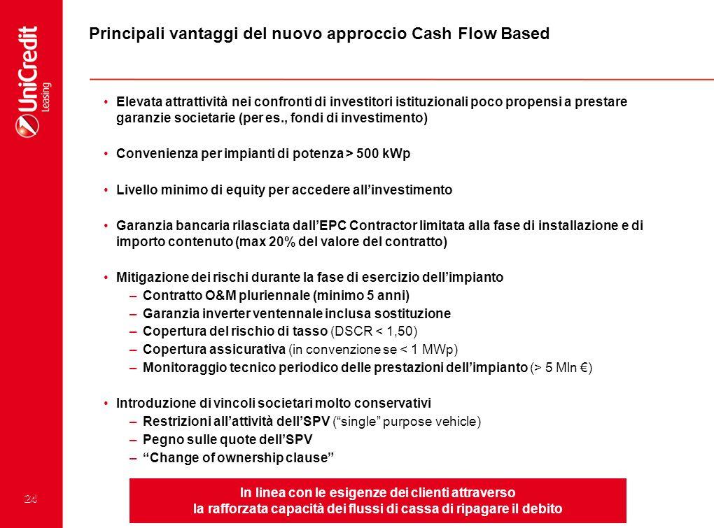 Principali vantaggi del nuovo approccio Cash Flow Based