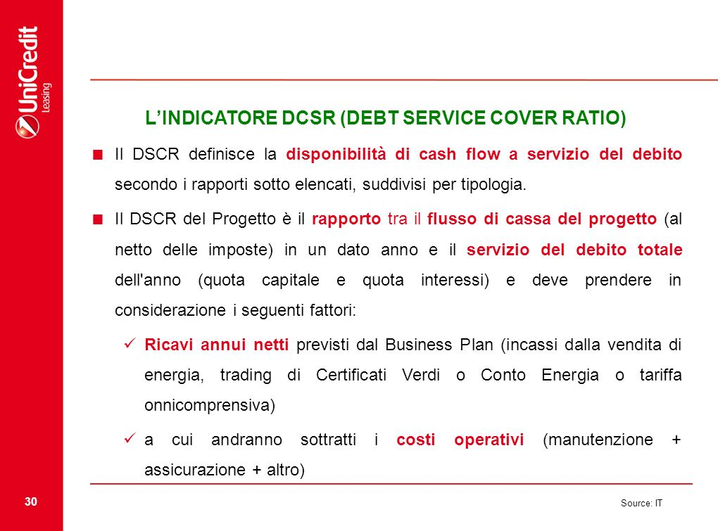 L'INDICATORE DCSR (DEBT SERVICE COVER RATIO)
