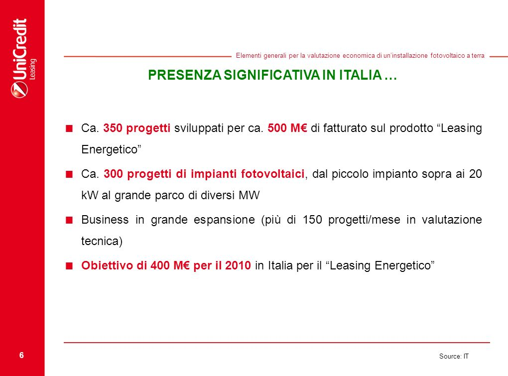 PRESENZA SIGNIFICATIVA IN ITALIA …