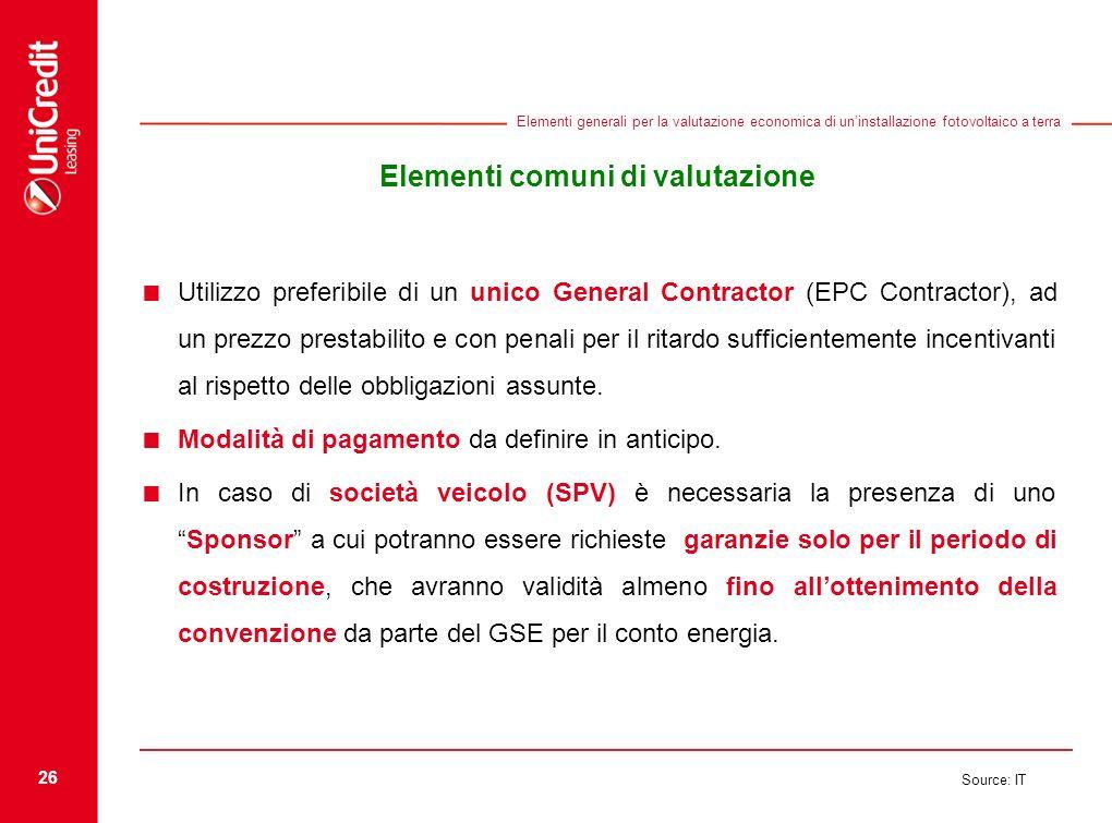 Elementi comuni di valutazione