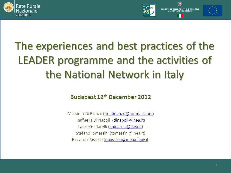 The experiences and best practices of the LEADER programme and the activities of the National Network in Italy