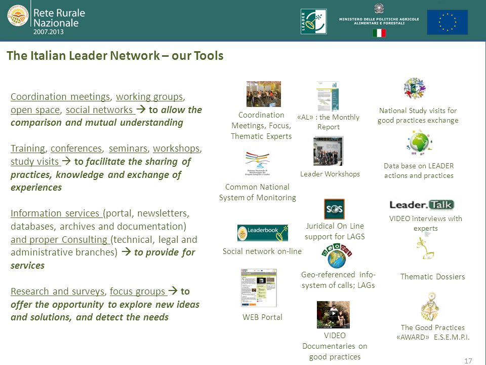 The Italian Leader Network – our Tools