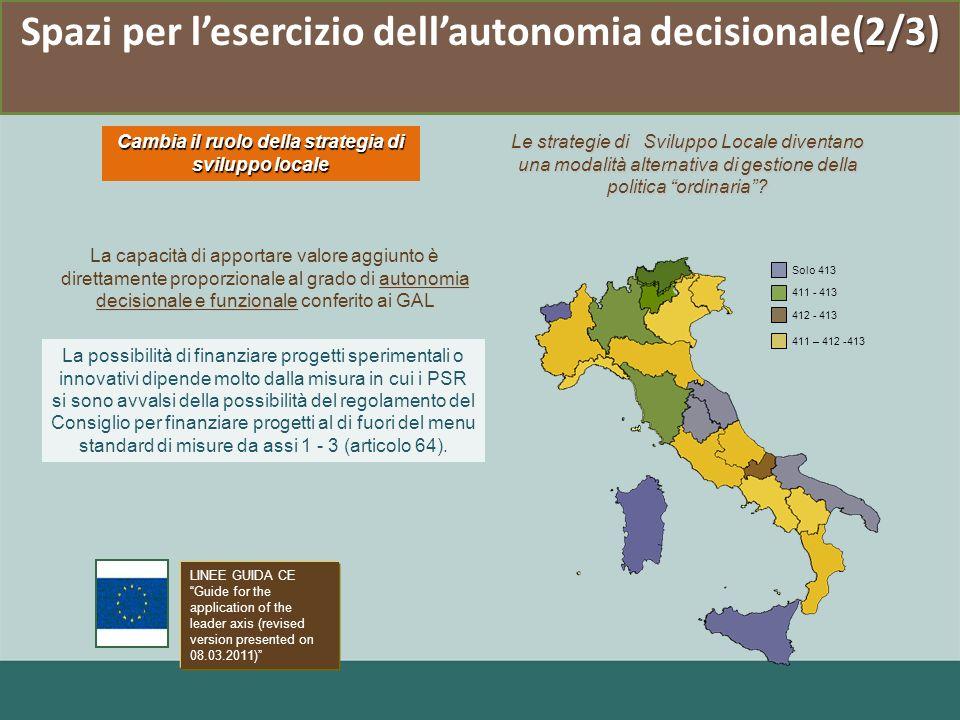 Spazi per l'esercizio dell'autonomia decisionale(2/3)