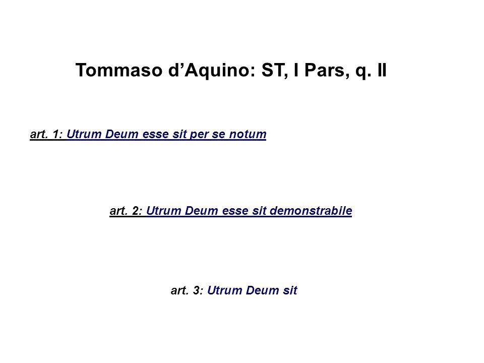 Tommaso d'Aquino: ST, I Pars, q. II