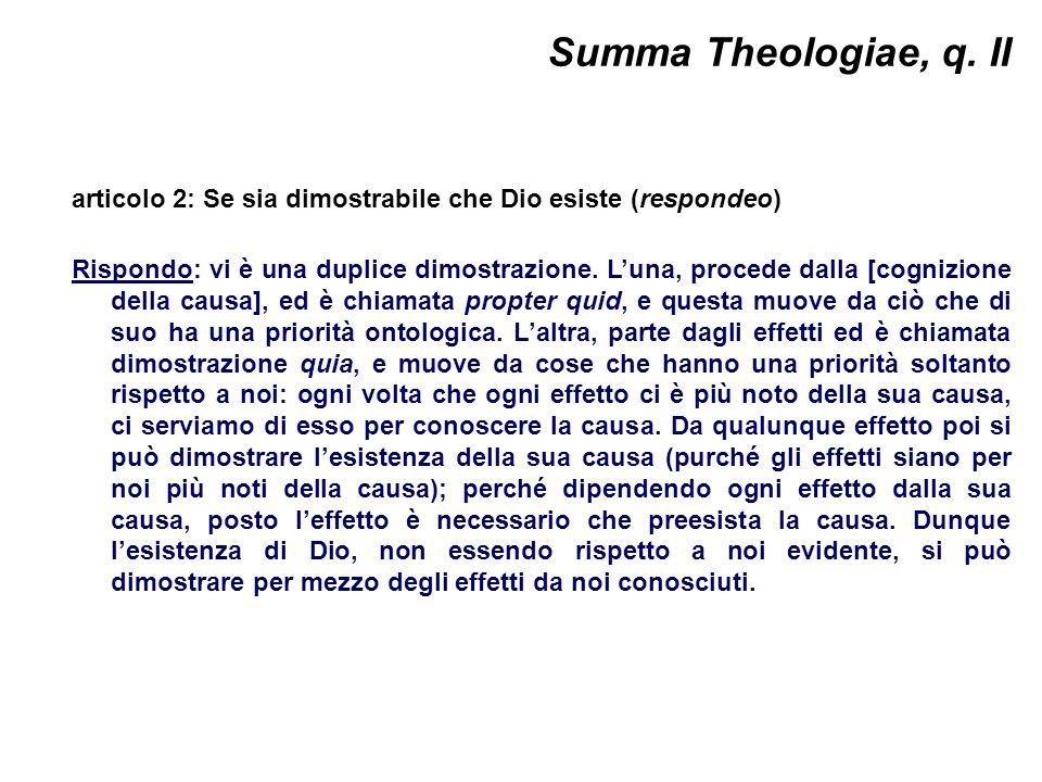 Summa Theologiae, q. II articolo 2: Se sia dimostrabile che Dio esiste (respondeo)