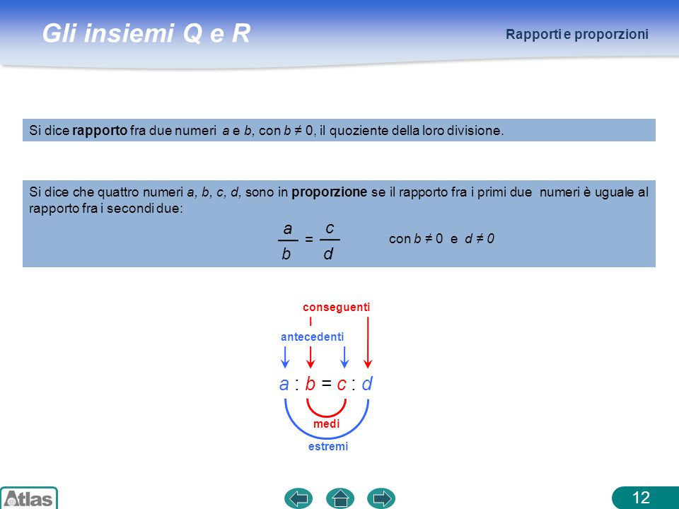 a : b = c : d a c b d = Rapporti e proporzioni