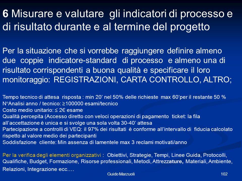 6 Misurare e valutare gli indicatori di processo e di risultato durante e al termine del progetto