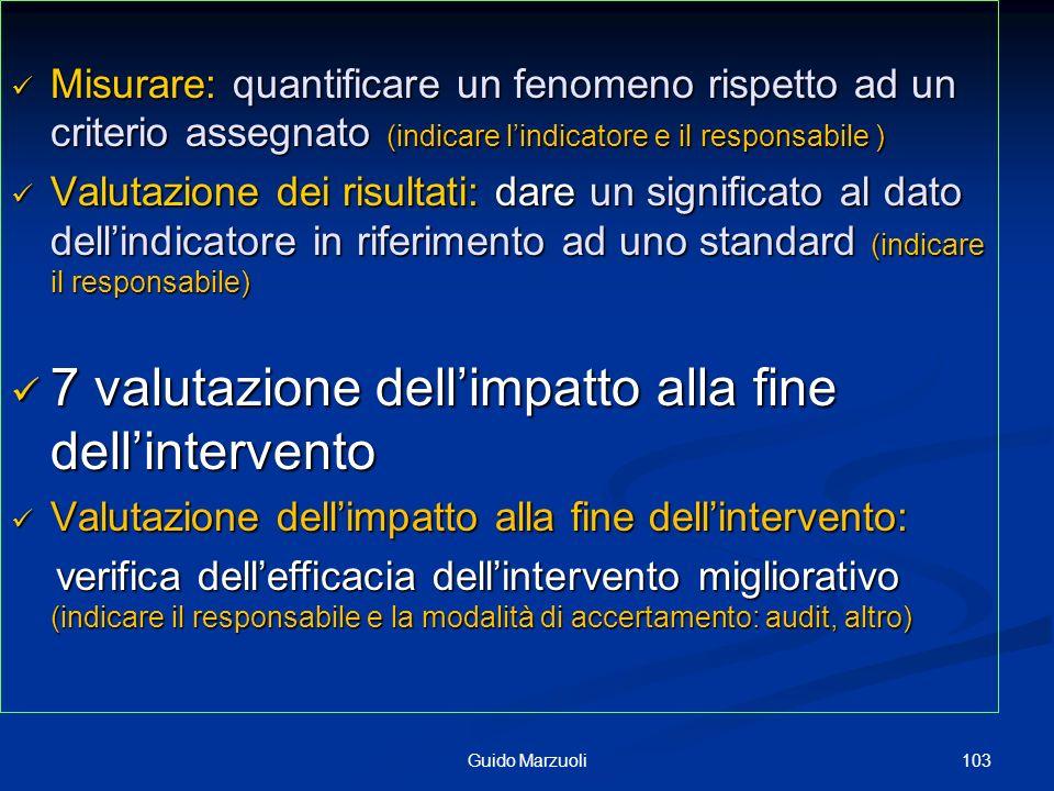 7 valutazione dell'impatto alla fine dell'intervento