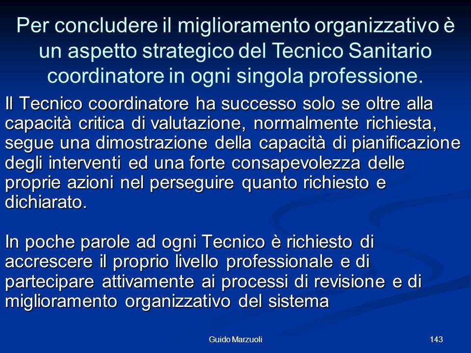 Per concludere il miglioramento organizzativo è un aspetto strategico del Tecnico Sanitario coordinatore in ogni singola professione.