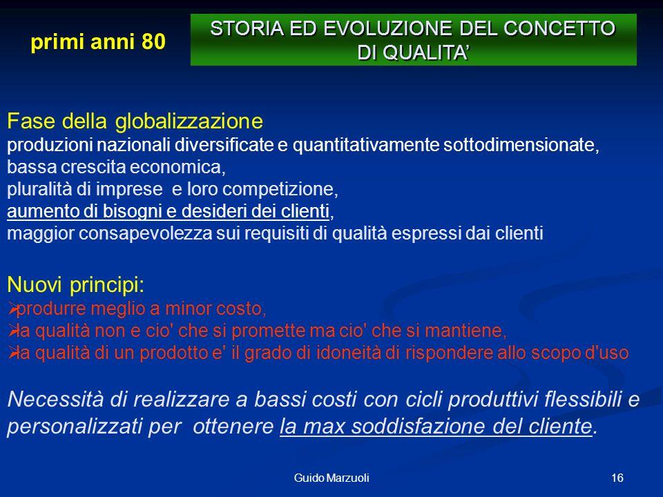 STORIA ED EVOLUZIONE DEL CONCETTO DI QUALITA'