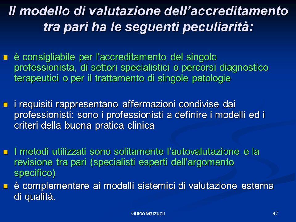 Il modello di valutazione dell'accreditamento tra pari ha le seguenti peculiarità: