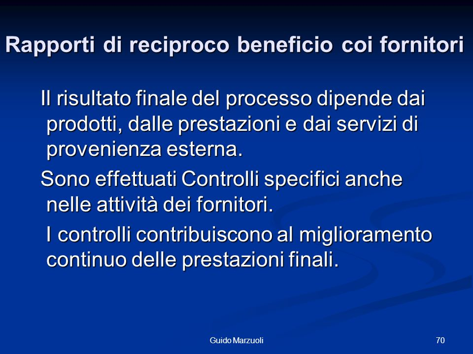 Rapporti di reciproco beneficio coi fornitori