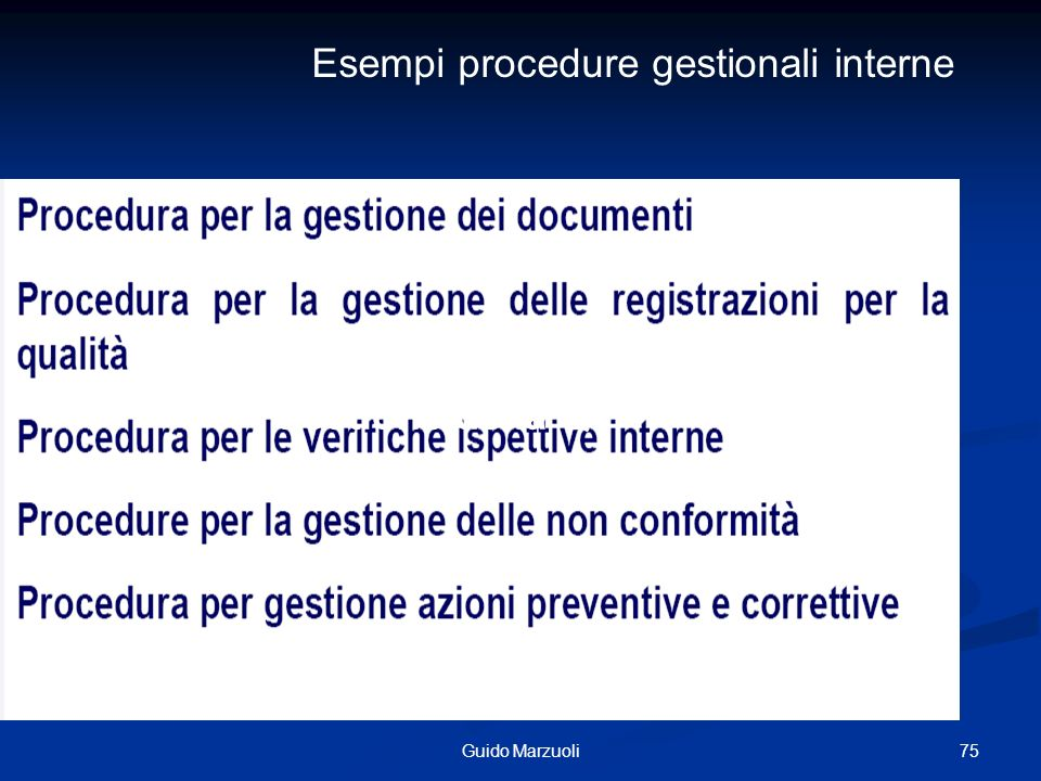 Esempi procedure gestionali interne