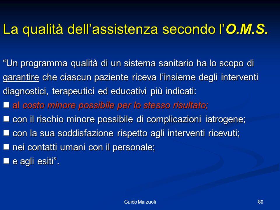 La qualità dell'assistenza secondo l'O.M.S.