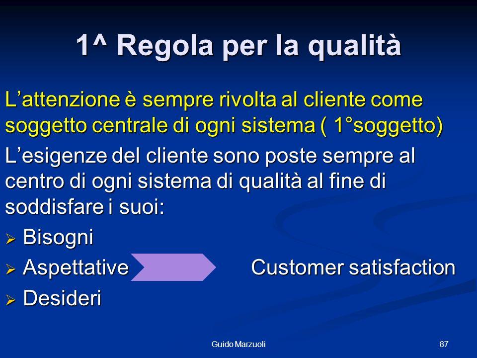 1^ Regola per la qualità L'attenzione è sempre rivolta al cliente come soggetto centrale di ogni sistema ( 1°soggetto)