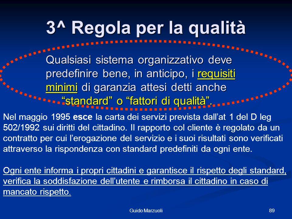 3^ Regola per la qualità Qualsiasi sistema organizzativo deve predefinire bene, in anticipo, i requisiti minimi di garanzia attesi detti anche.