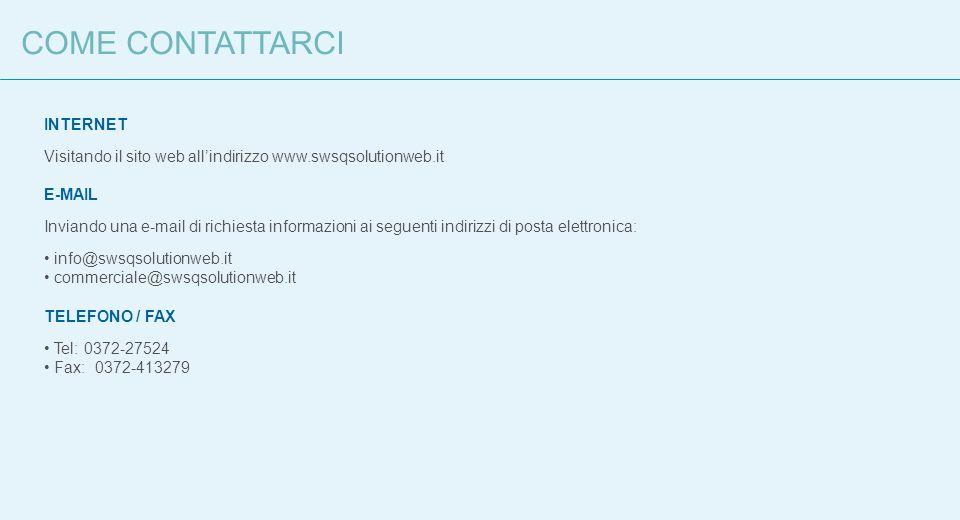 COME CONTATTARCI INTERNET