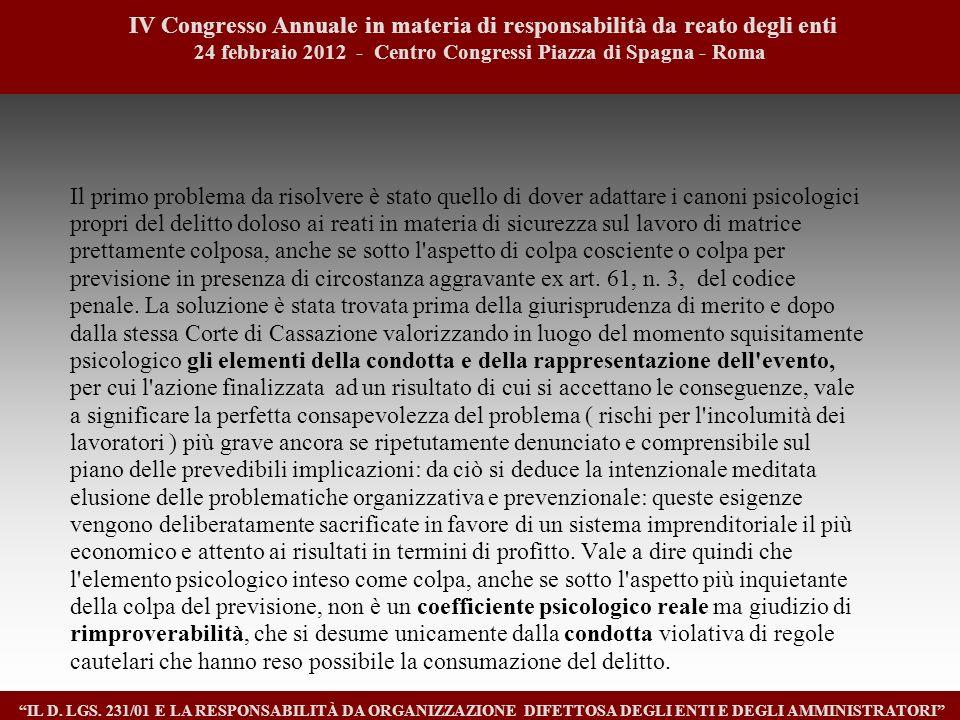 1414 IV Congresso Annuale in materia di responsabilità da reato degli enti. 24 febbraio 2012 - Centro Congressi Piazza di Spagna - Roma.