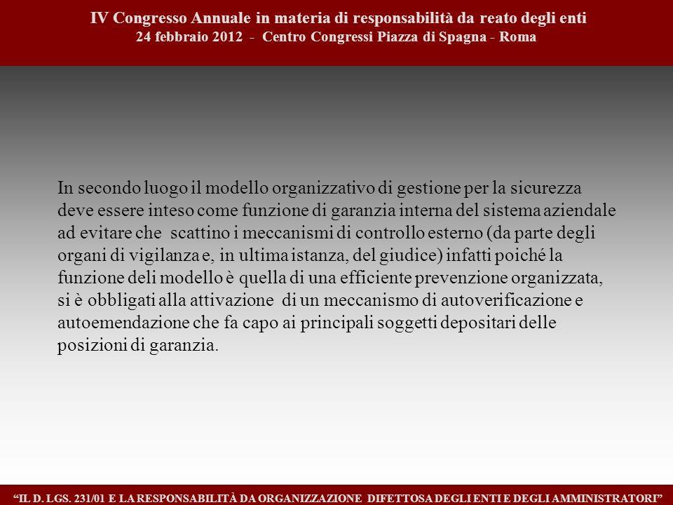 9 IV Congresso Annuale in materia di responsabilità da reato degli enti. 24 febbraio 2012 - Centro Congressi Piazza di Spagna - Roma.