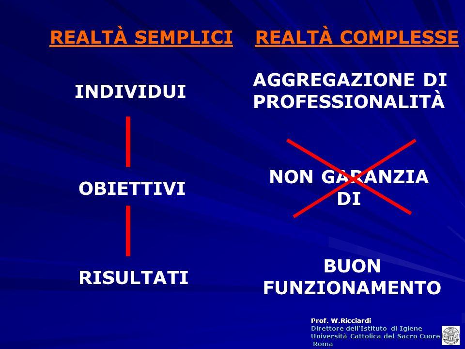 REALTÀ SEMPLICI REALTÀ COMPLESSE. AGGREGAZIONE DI PROFESSIONALITÀ. INDIVIDUI. NON GARANZIA DI. OBIETTIVI.